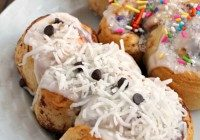Today's Daily Dish Recipe is Snowmen Cinnamon Rolls.