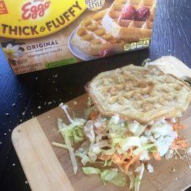 Buffalo Chicken and Waffles Sandwich