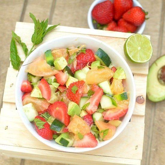 Minty Strawberry Avocado Salad with Citrus